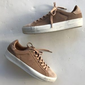AllSaints Women Sneakers Sepia Pink Suede Leather